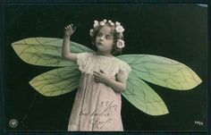 Fairy Child Girl with Dragonfly Wings Original Old 1910s Photo Postcard