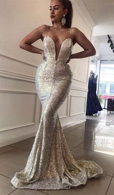 f35de3841602 Mermaid Spaghetti Straps Sweep Train Silver Sequined Prom Dress