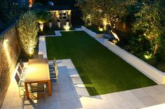 Most modern gardens are based on a geometric plan, in which the horizontal lines of the rectangular surfaces suggest the idea of movement. The vertical lines of the trees, hedges or walls ensure the necessary balance. The materials are chosen based on their quality and texture effects – wooden floors, concrete, tiles and decorative gravel have the capacity of making the surfaces they cover look bigger and often interrupted by water surfaces or odd-shaped trees. Modern Garden Design Ideas