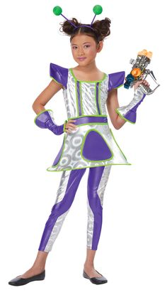 Cosmic Cutie Space Alien Girl's Costume - This is a Cosmic Cutie space creature costume. This is a sweet intergalactic alien outfit. This four-piece costume has a dress, leggings, gloves and headband. The dress is metallic silver with green piping and purple accents. It has foam-line cap sleeves and foam lining for the skirt. The skirt has a wire frame in the hem, giving it a distinctive bell-shape. #galaxy #space #cosmic #girls #children #kids #calgary #yyc #costume #halloween