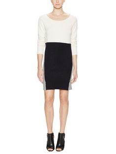 Colorblock Crewneck Sweater Dress