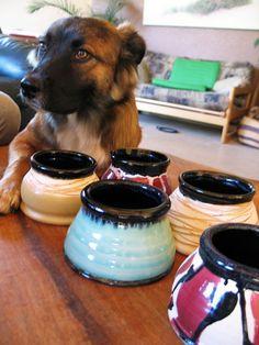 Pottery spaniel dog bowl by rikablue on Etsy, $25.00