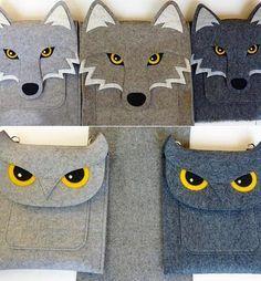 сумки из фетра в виде животных - волка и совы