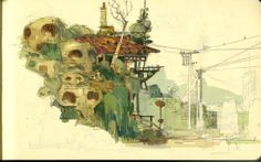 mike yamada's sketch of some rickety structures for KFP2.