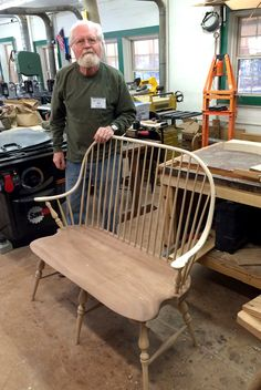 """Bob Gunther's impressive two-seater was made in """"Beginning Windsor Chair"""" with Brian Cunfer & Tommy Boyd on Jan 19-25, 2014. This was Bob's 4th chair making class (his 28th class at the Folk School!). Bob is an experienced wood turner and turned the legs in preparation for the class so he could finish his ambitious and beautiful project at the John C. Campbell Folk School, Brasstown, NC 