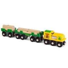 Brio lokomotiv med vogne og tømmer