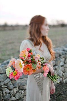 Unique neon poppy bouquet {Photo by The Nichols via Project Wedding}