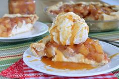 Cheesecake Apple Pie - cheesecake topped with a homemade apple pie. Ingredients: pie crust, cream cheese, egg, sugar, apple pie filling (apples, lemon juice, brown sugar, sugar, cornstarch, cinnamon, nutmeg, salt), caramel ice cream topping