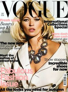Kate Moss on the cover of British Vogue (Sept 2009). Ph. Mario Testino