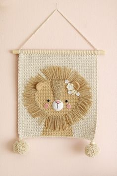 Wall hanging – Wall decor – Crochet decor – Nursery wall decor – Nursery wall hanging – Crochet lion – Crochet wall decor – Kids room decor - decorating a new home Crochet Lion, Crochet Panda, Crochet Toys, Crochet Baby, Crochet Wall Art, Crochet Wall Hangings, Tapestry Crochet, Deco Jungle, Nursery Wall Decor