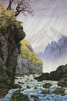 Hanga galerie. . . Torii Galerie: Vorberge bei Ashitakayama, Sommer von Takahashi Shotei