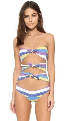 Lisa Marie Fernandez - Triple Poppy Stripe Maillot | Color: Purple/Yellow/Blue Stripe | Stretch-infused mid-weight jersey of 66% cotton/22% nylon/12% elastane | A trio of tie front closures cut over the boned bodice. Lined gusset. | USD455.00