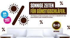 Sonnige Zeiten für Günstigschläfer. 10% #Rabatt auf Übernachtungen vom 01.07.-31.08.2015 (Fr.-So.). Ausschließlich über hotelbb.de buchbar.