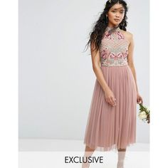 Maya High Neck Embroidered Rose Tulle Midi Dress ($151) ❤ liked on Polyvore featuring dresses, brown, embroidered maxi dress, high neckline prom dress, sequin prom dresses, midi cocktail dress and midi dress