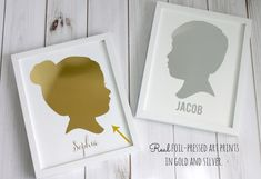 Add an elegant touch to your silhouettes with gold or silver foil. This classic silhouette design makes the perfect addition to your home decor or a memorable gift for someone you love. Our prints feature modern silhouettes with vintage charm. They are completely customizable. Just send us a photo of your loved one(s) and we'll create a one-of-a-kind silhouette, destined to become an heirloom.