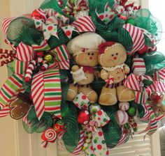 Green Deco Mesh Gingerbread Christmas Wreath by RamonaReindeer