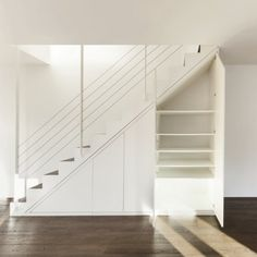 downstairs toilet and storage under stairs Stair Shelves, Staircase Storage, Stair Storage, Staircase Design, Closet Under Stairs, Space Under Stairs, Open Trap, Modern Closet, Downstairs Toilet