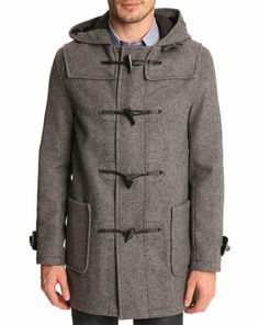 Mid Grey Duffle Coat with Chevron Patterning GLOVERALL