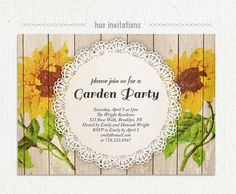 24 best garden party invitations images on pinterest quinceanera sunflower garden party invitation watercolor sunflower rustic woodgrain lace doily bridal brunch i do bbq invite bbq birthday 216 stopboris Image collections