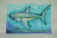 Great white Shark Original Watercolor. $75.00, via Etsy.