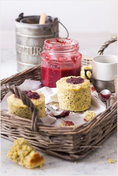 Rice flour, poppy seed and raspberry muffin