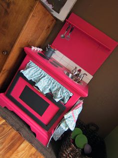 Nightstand turned DIY Play Kitchen