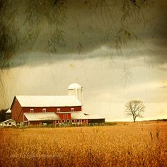Barn Photography  Under an Autumn Sky  red by ara133photography