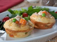 These personal-size portions of Mini Chicken Pot Pies bake up in no time in our ovens. Using readily available shortcut ingredients from our market; we'll feel like homemade heroes without the hard work! Muffin Tin Recipes, Muffin Tins, No Bake Pies, Pot Pies, Freezer Meals, Chicken Recipes, Yummy Food, Yummy Eats, Cooking Recipes