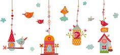 vinilos infantiles decohappy - - Vinilo infantil LOS PAJARITOS Digital Image, Cross Stitching, Pet Birds, Home Art, Baby Room, Decoupage, Kids Room, Doodles, Wall Decor