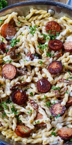 Pasta with Sun-Dried Tomato Sauce and Andouille Sausage