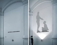 Amnesty International - Light Sculpture by Olivier Nowak, via Behance Exhibition Display, Exhibition Space, Museum Exhibition, Signage Light, Amnesty International, Shadow Theatre, Wayfinding Signage, Environmental Graphics, Learning Spaces
