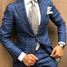 Grey blue suit dapper