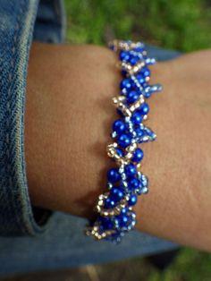 Blue Frivolite Beaded Bracelet via [Bead Works] -Professional Handcraft