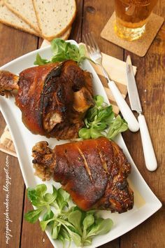 ***Pork Knuckle/Shank cooked in Beer***golonka pieczona w piwie Pork Recipes, Chicken Recipes, Cooking Recipes, Home Made Sausage, Beetroot Soup, Armenian Recipes, Good Food, Yummy Food, Carne