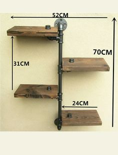 Urban Industrial Rustic Wall Mount Iron Pipe 4 Tiers Wood Shelf Shelving Storage for sale online Industrial Pipe Shelves, Wooden Shelves, Wall Shelves, Wood Shelf, Storage Shelving, Glass Shelves, Iron Pipe Shelves, Industrial Windows, Industrial Apartment