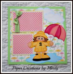 paper creations by mindy | ... Rainy Day Premade Scrapbook Pages Album Borders Paper Piecing | eBay