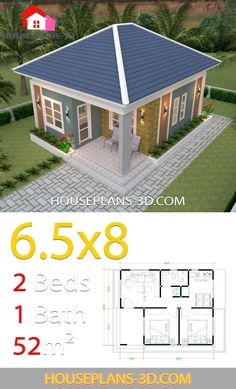 House Design Plans with 2 Bedrooms Hip Roof - House Plans Little House Plans, My House Plans, Modern House Plans, Small House Plans, Small House Interior Design, Simple House Design, Tiny House Design, 2 Bedroom House Design, 2 Bedroom House Plans