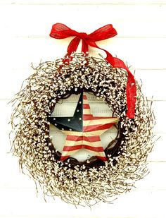 4th July Wreath-PATRIOTIC Door Wreath-Star Wreath-Summer Wreath-4th July Wreath-Scented Wreaths-Holiday Home Decor-Front Door Wreaths by WildRidgeDesign on Etsy https://www.etsy.com/listing/151356895/4th-july-wreath-patriotic-door-wreath