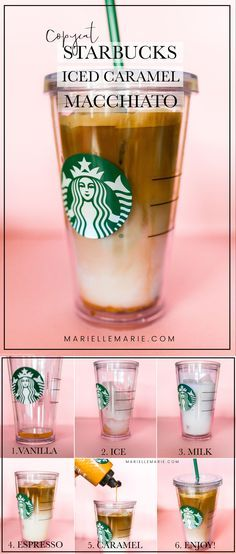 Save your money and make an Iced Caramel Macchiato at home! This copycat tastes identical to the real thing! Save yourself a trip to the coffee shop and make this Copycat Starbucks Iced Caramel Macchiato at home! Café Starbucks, Starbucks Secret Menu Drinks, How To Order Starbucks, Healthy Starbucks, Starbucks Caramel Macchiato Recipe, Starbucks Products, Iced Caramel Coffee, Iced Caramel Macchiato Recipe, Starbucks Hacks