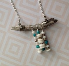 "OOAK ""Arizona Driftwood"" Necklace - Silver Wire Wrapped with Natural Turquoise, Ethiopian Brass and White Seed and Shell Beads Fringe #ThePaintedCabeza"