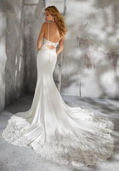 Mori Lee Bridal 8283 wedding dress available at The Castle. We are an authorized retailer for all Mori Lee Bridal dresses and every 8283 is brand new with all original tags! Crepe Wedding Dress, Luxury Wedding Dress, Bridal Wedding Dresses, Wedding Dress Styles, Designer Wedding Dresses, Lace Wedding, Summer Wedding, Form Fitting Wedding Dress, Mori Lee Bridal