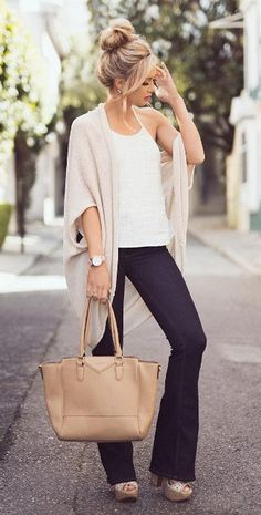 #spring #outfits Beige Cardigan + White Tank + Black Jeans + Camel Leather Tote Bag