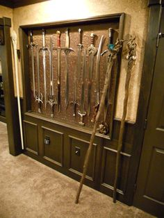 LOTR Sword Collection (and wizard staffs) Nerd Room, Nerd Cave, Man Cave, Lotr Swords, Katana Swords, Home Music, Displaying Collections, Tolkien, The Hobbit