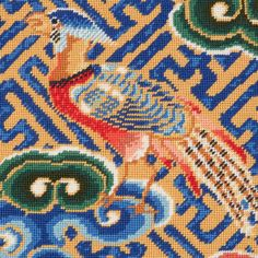 'Chinese Pheasant' from our Victoria and Albert Museum collection. This vibrant design featuring a pheasant, a symbol of nobility, comes from an 18th century dragon robe, the everyday dress of the emperors of China. Design Museum, Art Museum, The V&a, Needlepoint Kits, Everyday Dresses, Victoria And Albert Museum, Museum Collection, Pheasant, 18th Century