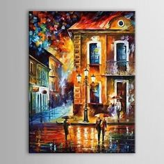 Europe Street Night View Canvas Knife Oil Paintings For Home Decor 16 20 Noframe