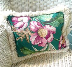 Vintage Decorative Pillow Barkcloth Pillow by VintageReinvented
