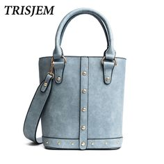 95041767a20 Aliexpress.com   Buy TRISJEM Fashion Women Rivet Bucket Bags Tote Handbag  Ladies Bag 2017 Pu Leather Bucket Bags For Women 2017 Blue Black from  Reliable ...