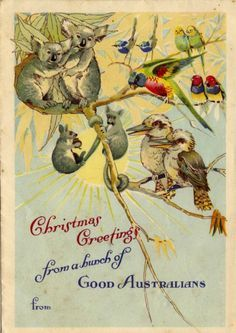 Australian Christmas cards - would be great printed for decor Homemade Christmas Cards, Christmas Cards To Make, Vintage Christmas Cards, Christmas Images, Xmas Cards, Christmas Greetings, Vintage Cards, Handmade Christmas, Christmas Time