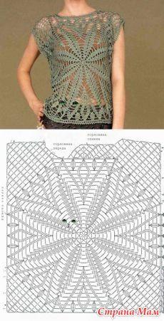Débardeurs Au Crochet, Pull Crochet, Gilet Crochet, Mode Crochet, Crochet Tunic, Crochet Diagram, Crochet Woman, Crochet Clothes, Crochet Stitches
