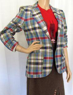 Vintage 80s Blazer Jacket / Plaid Jacket Plaid by BeatniksVintage, $28.00